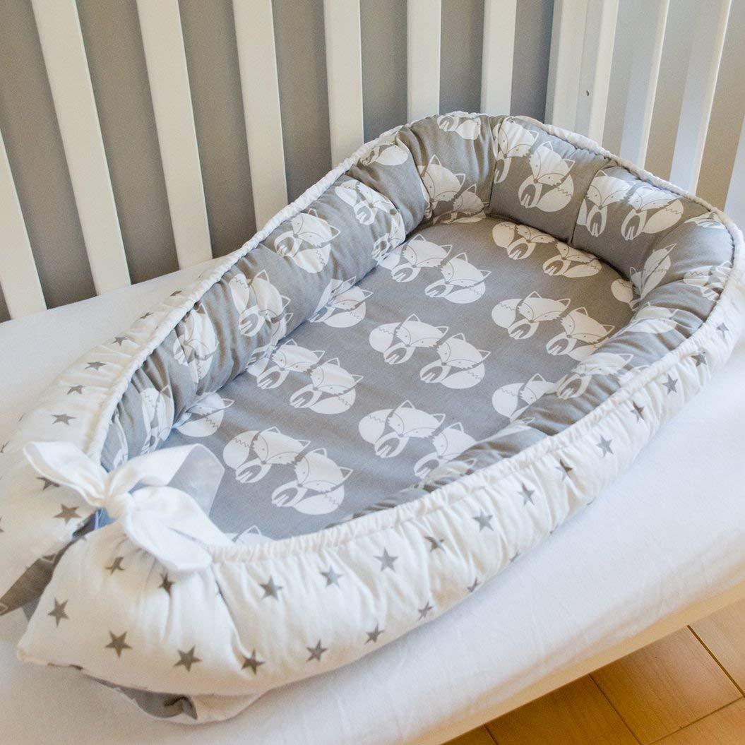 Baby nest bed or toddler size nest, stars and foxes, portable crib, co sleeper babynest for newborn and toddlers
