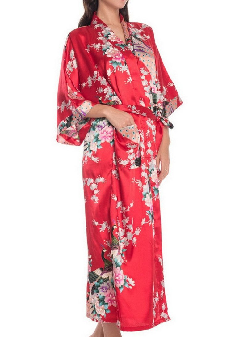 FEOYA Women's Kimono Long Robe Peacock & Blossoms Printing Silk Nightwear