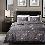 queen quilt birds - Duvet Cover Set with Zipper Closure Blue and Yellow Birds and Plants Floral Pattern Design Bedding Queen-(90