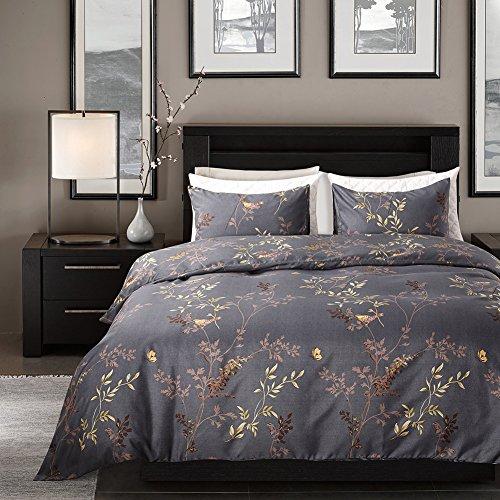 Leadtimes Floral Duvet Cover Set Full/Queen Flowers Bedding Set Lightweight Boho Duvet Comforter Cover Set (Queen, Gold Leaves)