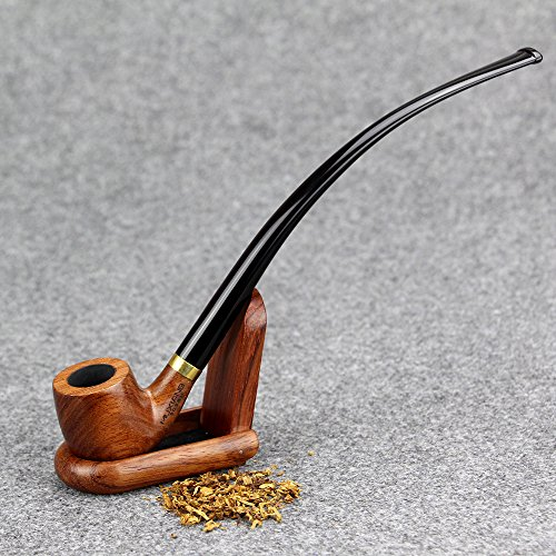 MX-302 Lobular Ebony Smoking Pipe 9mm Filter Element Tobacco Pipe Tobacco Smoking Pipe Handmade Wooden Durable Tobacco Smoking Pipe