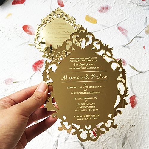 Customized 5x7inch Laser Engraved letters Vintage Hollow Style Golden Mirror Acrylic Invitation Card 100pcs Per Lot by HANTANG