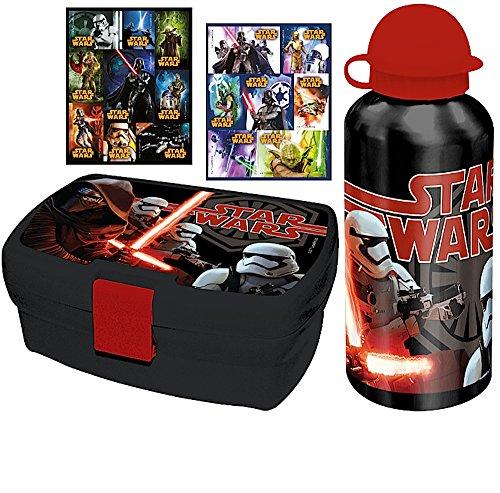 3 tlg. Set - STAR WARS - Brotdose + Aluminium-Trinkflasche + 16 Star Wars Sticker - Motiv: Kylo Ren + Stormtrooper - Sportbeutel / Lunchbox / Sportflasche