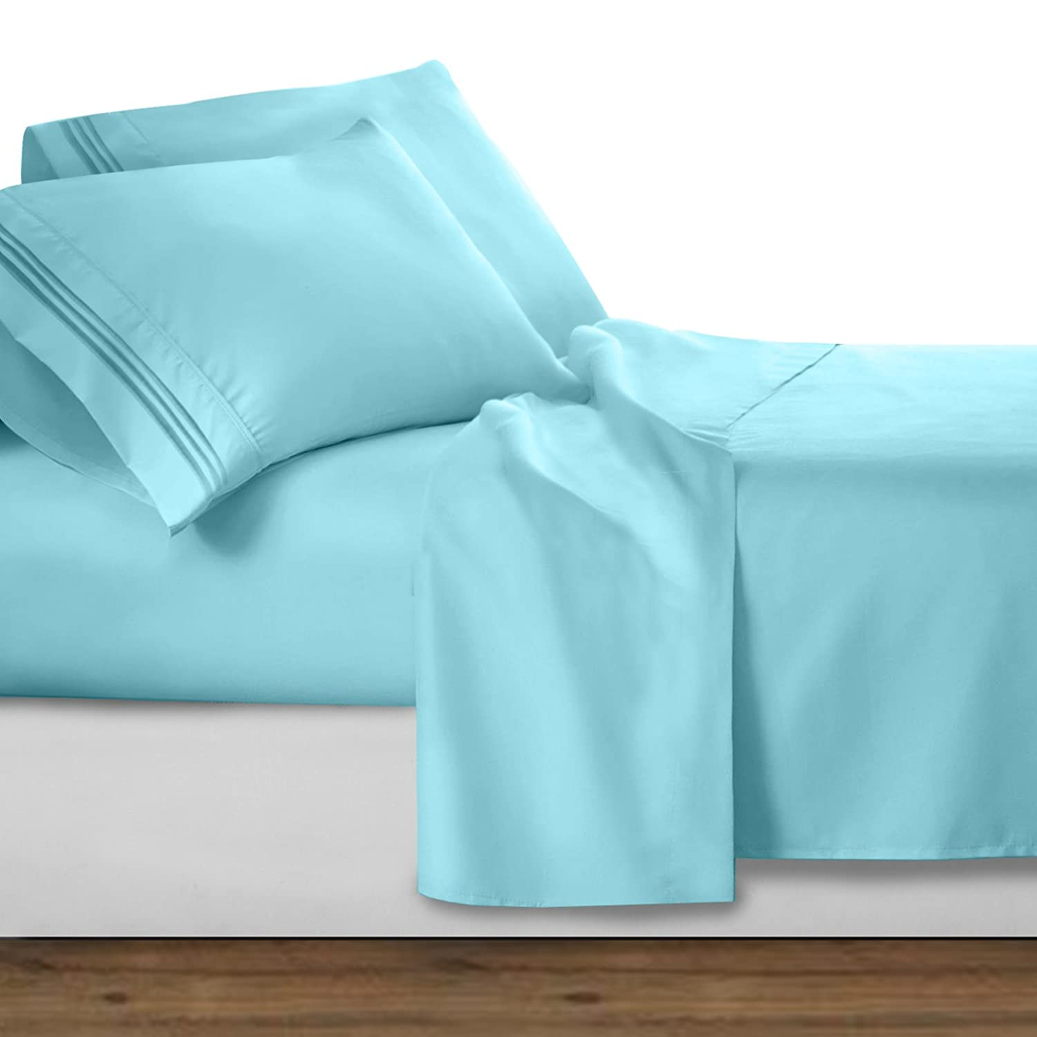 Clara Clark 1800 Premier Series 4pc Bed Sheet Set - King, Light Blue Aqua