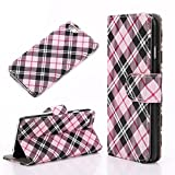 I phone 6S Plus case,CELKASE™, Luxury Checker Faux Leather Fashion Designer Wallet Flip Cover Skin Case Stand For i phone 6s plus (5.5'' inches)-Pink
