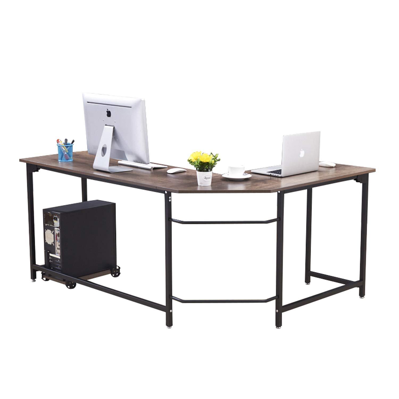 Charmant Truker L Shaped Desk Nordic Minimalist Style Homeu0026Office Computer Desks  Imitation Dark Walnut Wood Tabletop Asymmetric Corner Table Easy To Install  ...