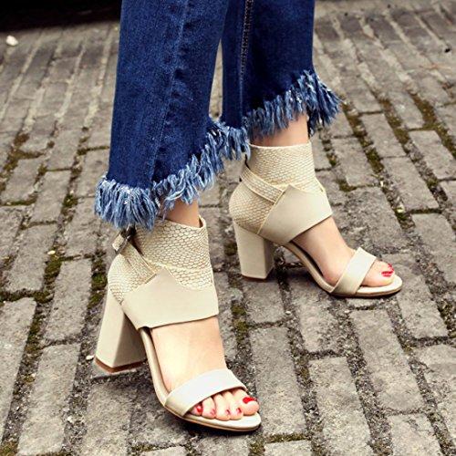 YE Damen Ankle Strap Sandalen Blockabsatz Offene High Heels mit Reißverschluss 8cm Absatz Modern Bequem Schuhe Beige