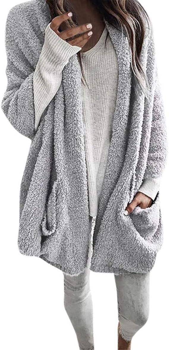 FRAUIT Strickjacke Damen Herbst Winter Frauen Langarm Mantel Dick Mit Kapuze Jacke Atmungsaktiv Warm Bequem Freizeit Tanzparty Party Windjacke