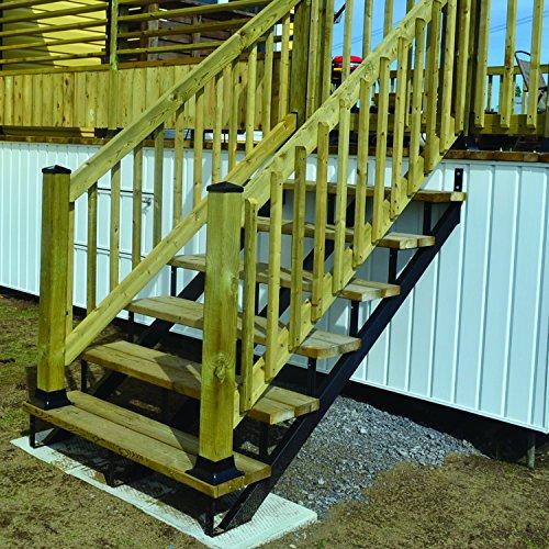 Pylex 13903 Riser 3 Steps Steel Stair Stringers, Black