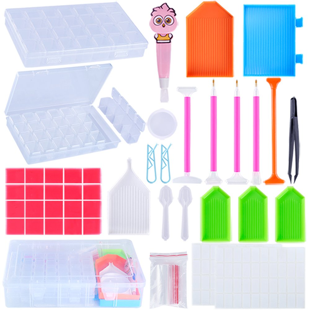 PP OPOUNT62 Pieces 5D Diamond Cross Stitch Tools Full Kit Including Diamond Stitch Pen, LED Diamond Painting Pen, Tweezers, Glue, Plastic Tray, Label Stickers and Two Diamond Embroidery Box