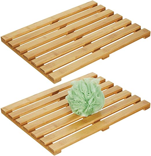 Natural Light Wood Angled Slat Design Eco-Friendly 100/% Bamboo Wood Floors Bathtubs Indoor and Outdoor use mDesign Natural Bamboo Non-Slip Rectangular Spa Bath Mat for Bathroom Showers