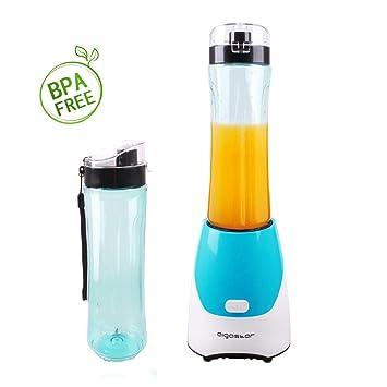 Aigostar Batidora de vaso portátil para smoothies, batidos y picadora de frutas. Color verde