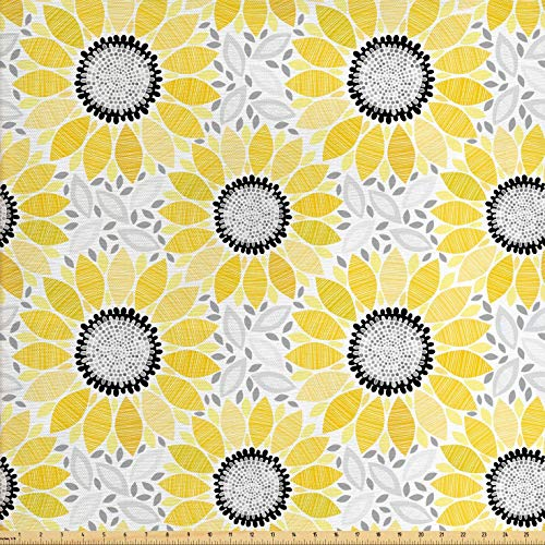 Lunarable Sunflower Fabric by The Yard, Abstract Shapes Floral Pattern Stripe Petals Summer Blossom Illustration, Decorative Fabric for Upholstery and Home Accents, 3 Yards, Yellow Black Grey