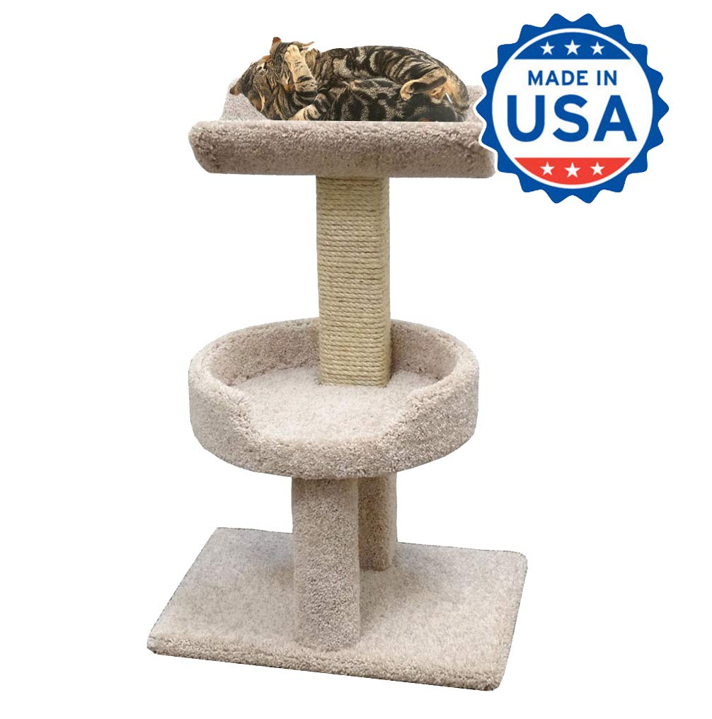 Wood Cat Furniture Perch with Cradle, Beige Carpet by CozyCatFurniture