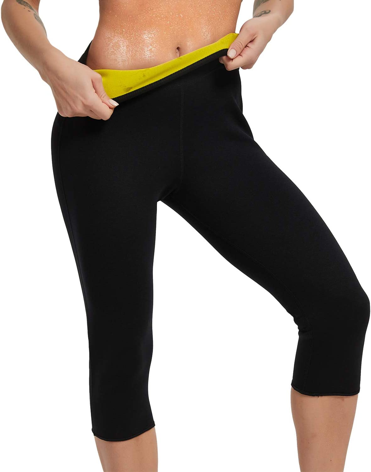 Hot Slimming Sauna Pants for Weight Loss 1pcs High Waist Hot Thermo Fat Burning Sweat Leggings with Side Pocket for Women Running Gym Yoga Exercise Tummy Control Women Sauna Sweat Pants Black