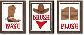 product image for Big Dot of Happiness Western Hoedown - Kids Bathroom Rules Wall Art - 7.5 x 10 inches - Set of 3 Signs - Wash, Brush, Flush