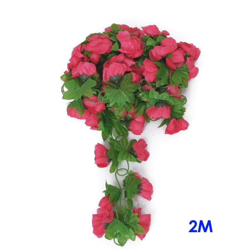 TOOGOO(R) Guirlande de Rose Artificielle pour la Decoration du Jardin, de la Maison et du Mariage - Rose SHOMAGT13680