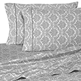 400 Thread Count Luxurious 100% Egyptian Cotton Set of 4 Short Queen 60x75 (1 Fitted sheet,1 Flat Sheet, 2 Pillows covers) for Camper/RV by Rajlinen (Jacquard Printed Silver)