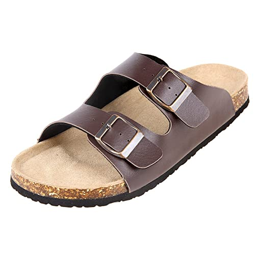 ebe16d9b6f612d Pinpochyaw Mens Arizona Sandals 2-Strap Flip Flops Cork Footbed Buckle  Sandal (8 B
