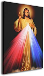 Song Art Canvas Wall Art Prints Divine Mercy Jesus Religious Christian -Photo Paintings Modern Decorative Giclee Artwork Wall Decor-12x16 Inch Ready to Hang