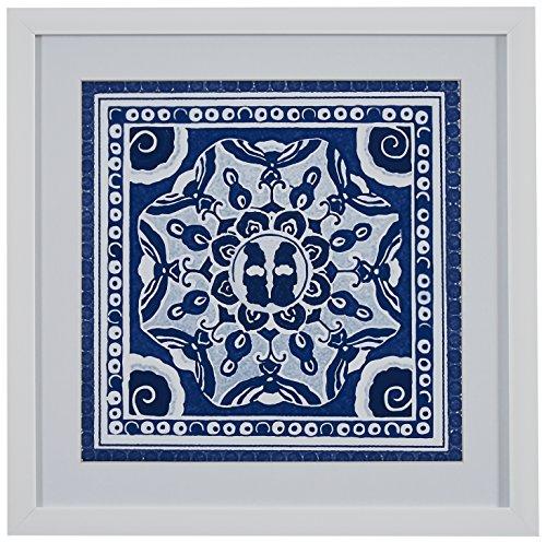 Stone & Beam Boho Blue and White Print, White Frame, 14