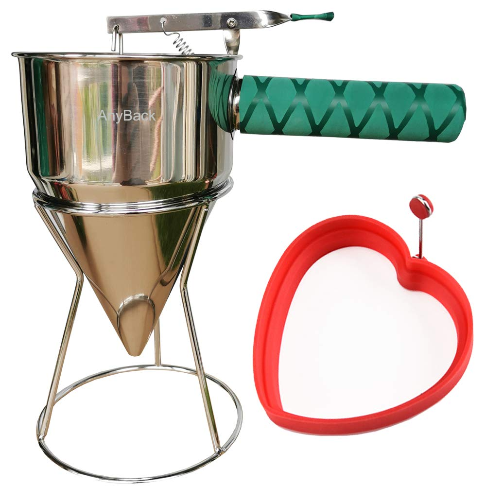 Pancake Batter Dispenser Mixer Stainless Steel with Squeeze Green Cover Handle, Steel Pancake Batter Dispenser Funnels with Stand and Silicone Mold AnyBack Red Heart by AnyBack