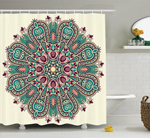 Ambesonne Mandala Decor Collection, Pastel Mandala Indian Sy