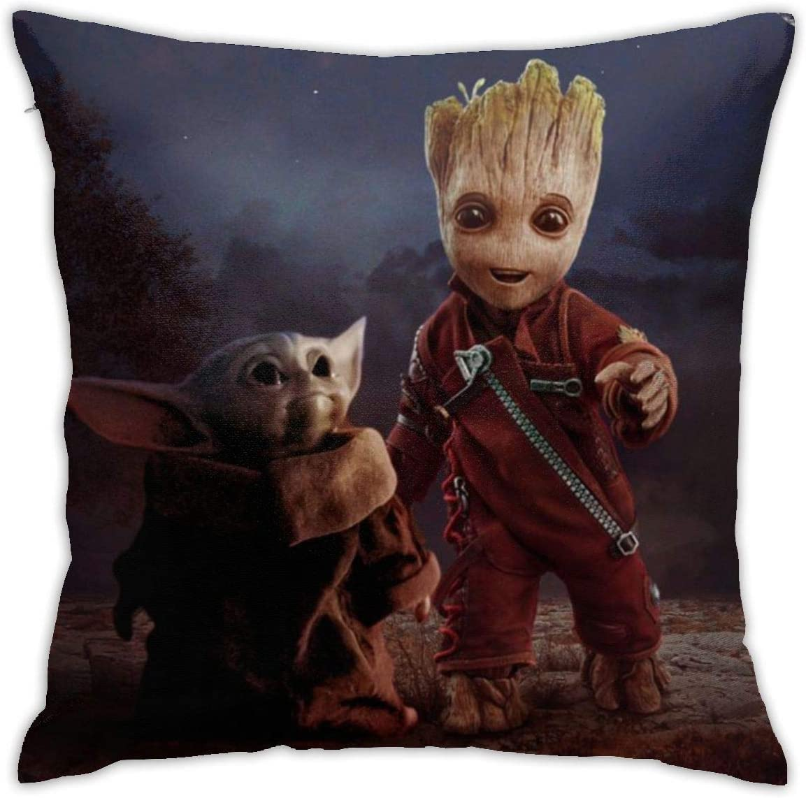 Groot and Baby-Yo-da The Mandalorian Throw Pillow Case Cover Soft Square Pillow Case for Decorative Bedroom/Livingroom/Sofa/Farm House - Couch Pillow Cushion Covers