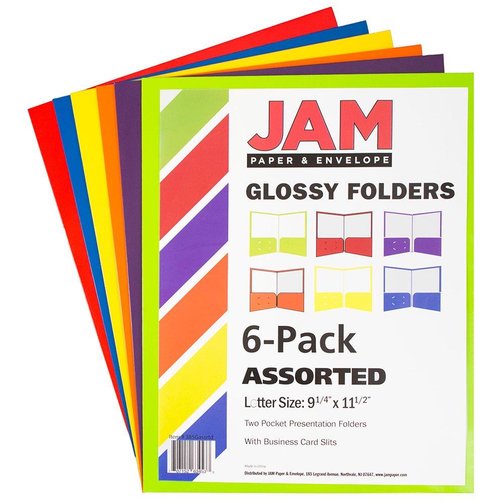 JAM PAPER Laminated Two Pocket Glossy Folders - Assorted Primary Colors - 6/Pack by JAM Paper