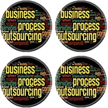 MSD Natural Rubber Round Coasters IMAGE ID: 14970813 Business process outsourcing concept in word tag cloud on black background