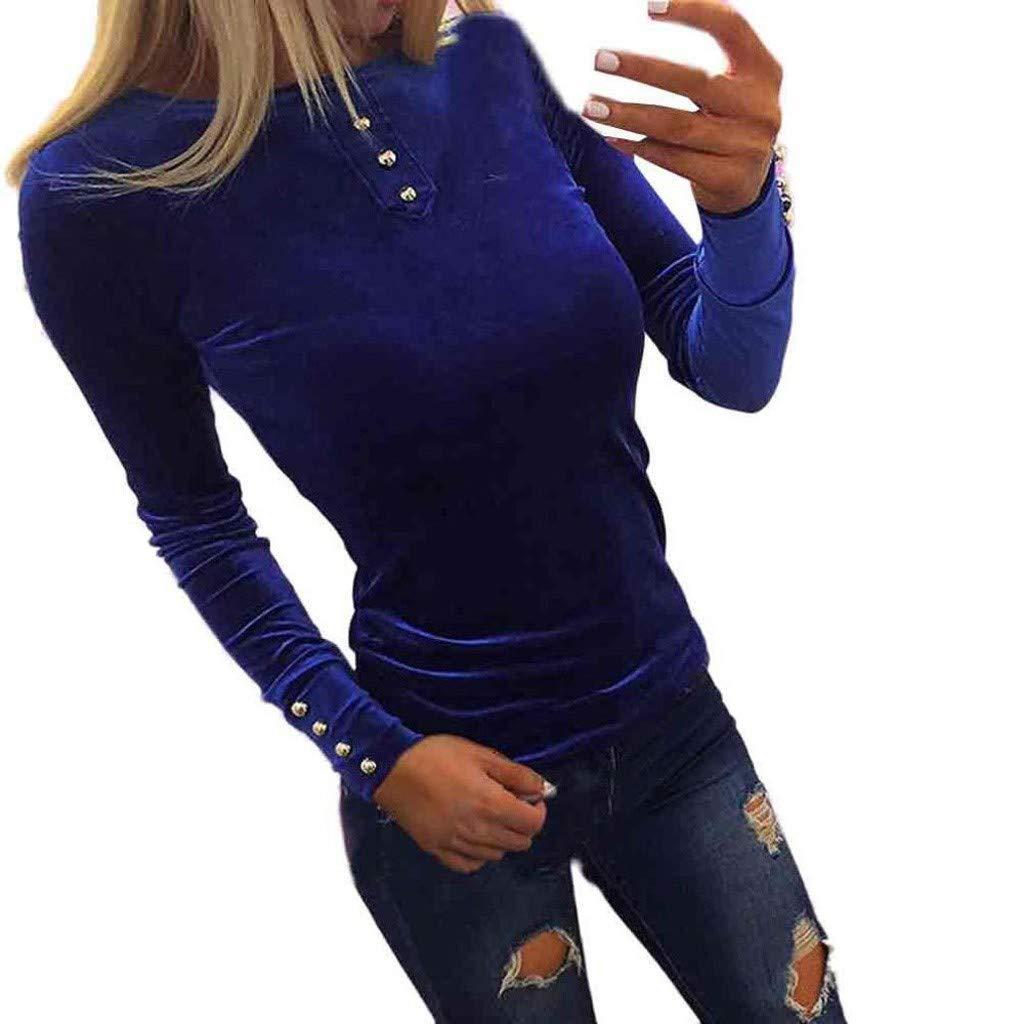 Lenfesh T-Shirts en Velours à Capuche à Manches Longues à Col en V pour Femmes à La Mode