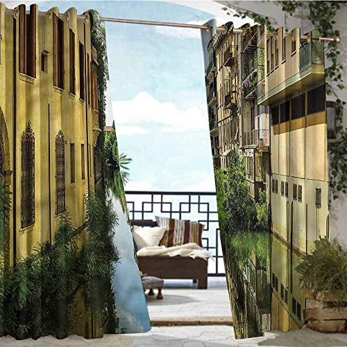 crabee Patio Curtains Cityscape,City Canal Residential,W72 xL96 for Front Porch Covered Patio Gazebo Dock Beach Home