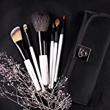 DUcare 6 Pieces Goat SableNatural Hair Foundation Eyeshadow Makeup Brush Kits with Case