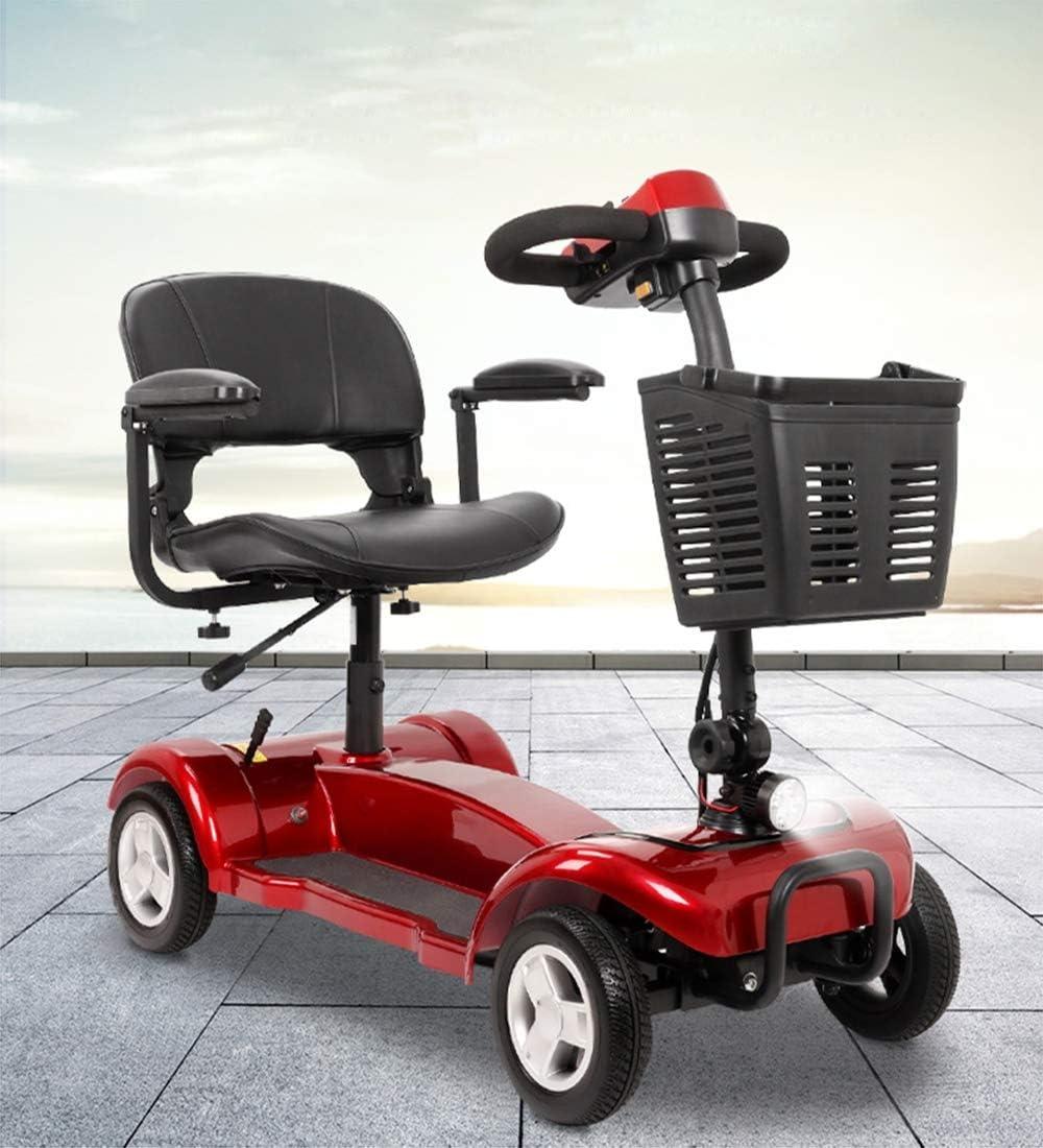 JCDZSW Scooter eléctrico Plegable con Puerto de Carga USB, Scooter eléctrico de Cuatro Ruedas 24V 20 Ah batería de Litio 250W para Todo Tipo de Carreteras (Rojo)