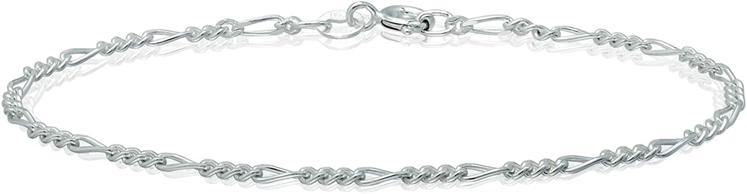 Michael Zweig 925 Sterling Silver Ankle Bracelets for Women - Figaro Chain Sterling Silver | 1.85 mm Thickness with Spring Ring, Italy Tag