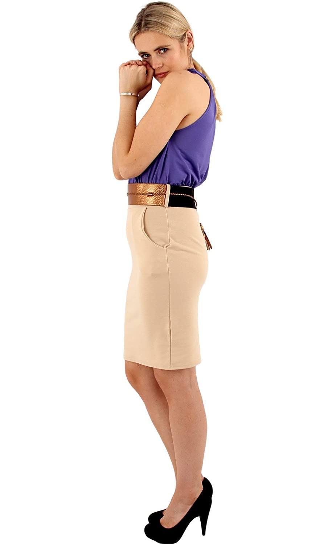 Womens Smart Contrast Dress With Belt