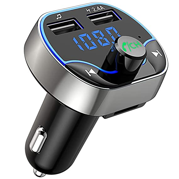 Audio & Video Accessories FM Transmitter Bluetooth Car MP3 Player Radio Adapter Handsfree Car Kits Bluetooth Transmitter for Car Dual USB Fast Charging with LED Display Hands-Free