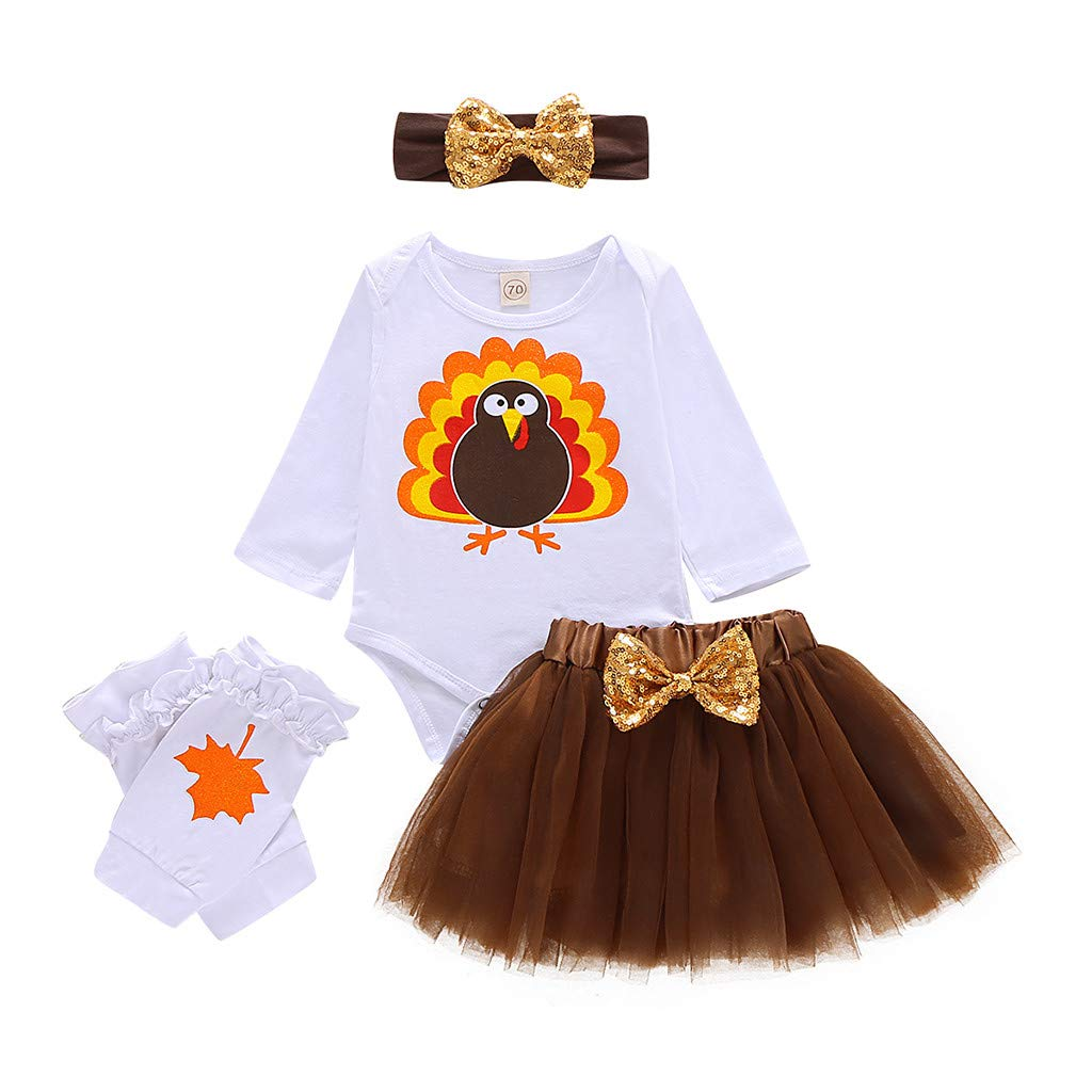 DRAGONHOO Infant Baby Girls Thanksgiving Day Turkey Romper Bodysuit Tulle Skirts Outfits White by DRAGONHOO