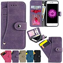 iPhone 6S Case, iPhone 6 Wallet Case, Firefish Folio Flip Leather Cover with Cash and Credit Card slots Cash Compartment for Apple iPhone 6/6S -Purple