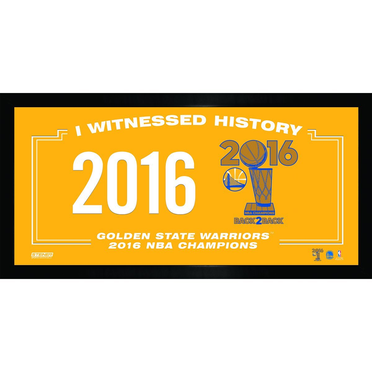 NBA Golden State Warriors 2016 Champion Logo I witnessed History 10'' x 20'' Collage Photo Frame, Navy