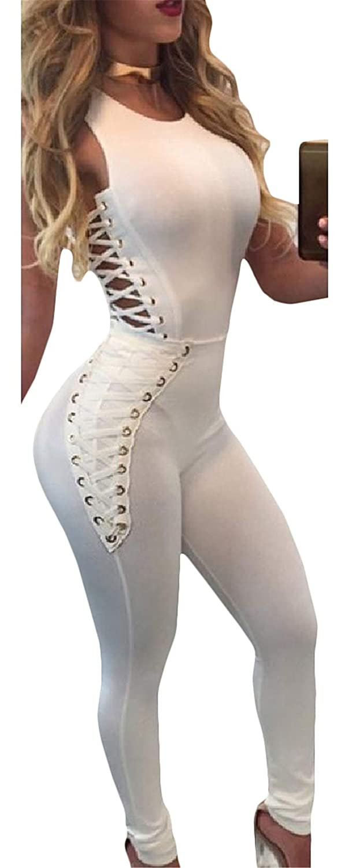 Joe Wenko Women Sleeveless Romper Joggers Club Skinny Lace-up Jumpsuits