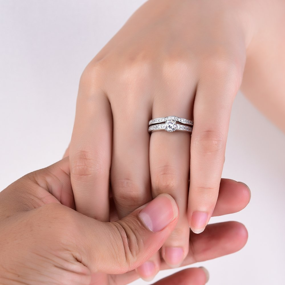 Sreema London 925 Sterling Silver Pave Solitaire Women\'s Wedding ...