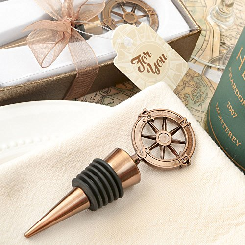 56 Compass Design Bronze Metal Bottle Stoppers by Fashioncraft