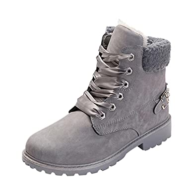 Slduv7 Winter Fur Womens Snow Boots Faux Leather Outdoor Hiking Lace Ankle Bootie For Women
