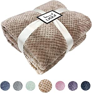 """U UQUI Taupe Blanket Full Size Blankets for Bed or Couch Soft Fleece Travel Throw Blanket Silky Flannel Fleece Waffle Pattern Throw Warm Lightweight Blanket (Full 70""""X78"""")"""