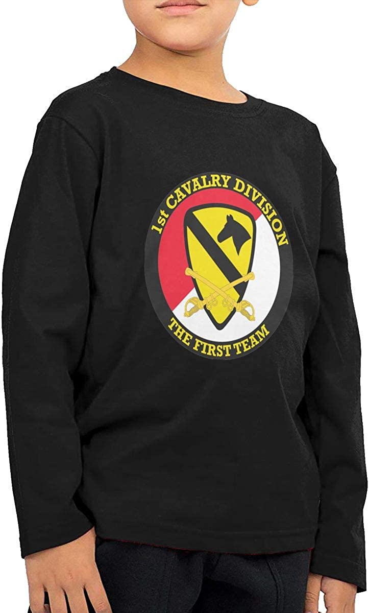 1st Cavalry Division with Sabres Childrens Long Sleeve T-Shirt Boys Girls Cotton Tee Tops