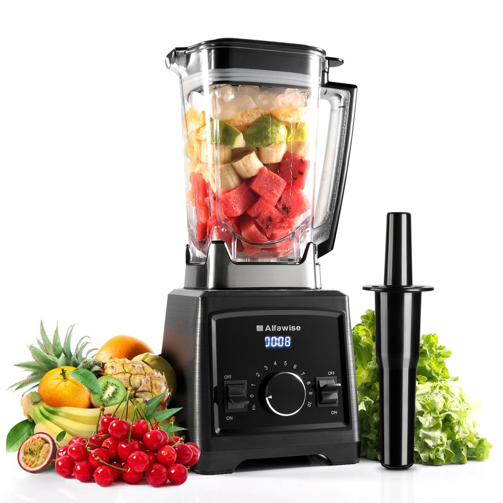 Smoothie Blender, Alfawise 1450W Commercial Blender, Professional Smoothie Blender with BPA-Free Tamper, Blender Food Processor Combo for Ice, Fruits, Vegetables, Smoothies and Shakes