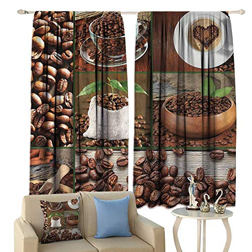 (HoBeauty Brown, Blackout Window Curtain, Collage of Coffee Beans in Cups and Bags with Green Leaves on Wooden Table Photo, Customized Curtains,(W72 x L63 Inch, Brown Green)