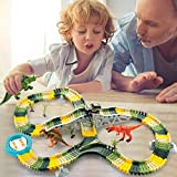 HOMOFY Dinosaur Toys 192 Pcs Race Car Track Sets Jurassic World Flexible Tracks, 3 Dinosaurs,2 Led Cars,1 Tree and 2 in 1 Tunnel for 2 3 4 Year Old Girls and Boys (192 pcs Race Track Set)