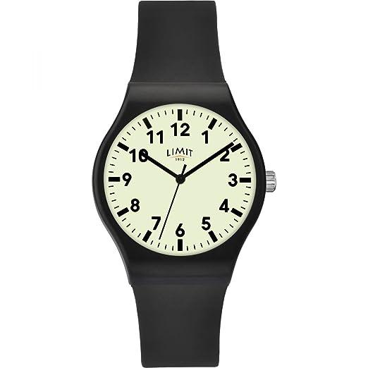 Límite de hombre brilla en la oscuridad dial reloj & negro goma correa 5693